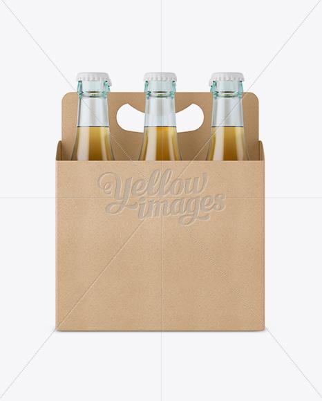 Kraft Paper 6 Pack Beer Bottle Carrier Mockup Front View In Bottle