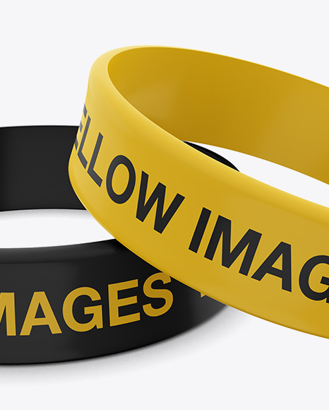 Thick Silicone Wristbands Mockup