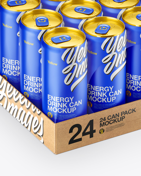 Download Pack With 6 Matte Aluminium Cans With Plastic Holder Front View PSD - Free PSD Mockup Templates