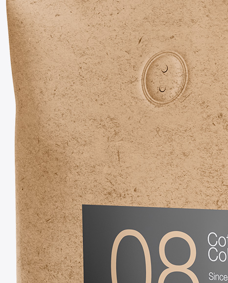 1kg Kraft Paper Coffee Bag Mockup