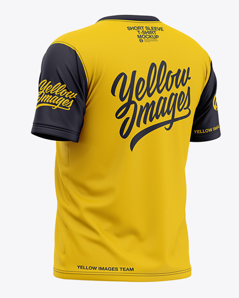 Download Mens Long Sleeve T Shirt Mockup Back View Yellow Images