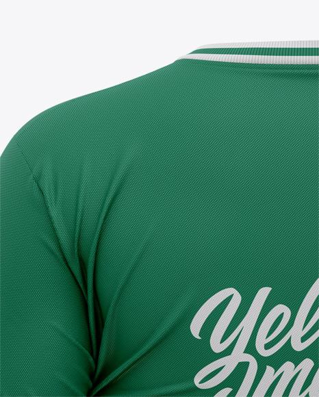 Women's Soccer V-Neck Jersey Mockup - Back View - Football T-shirt