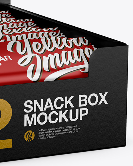 12 Matte Snack Bars Display Box Mockup