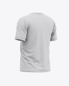 Men's Heather Short Sleeve T-Shirt Mockup - Back Half Side View