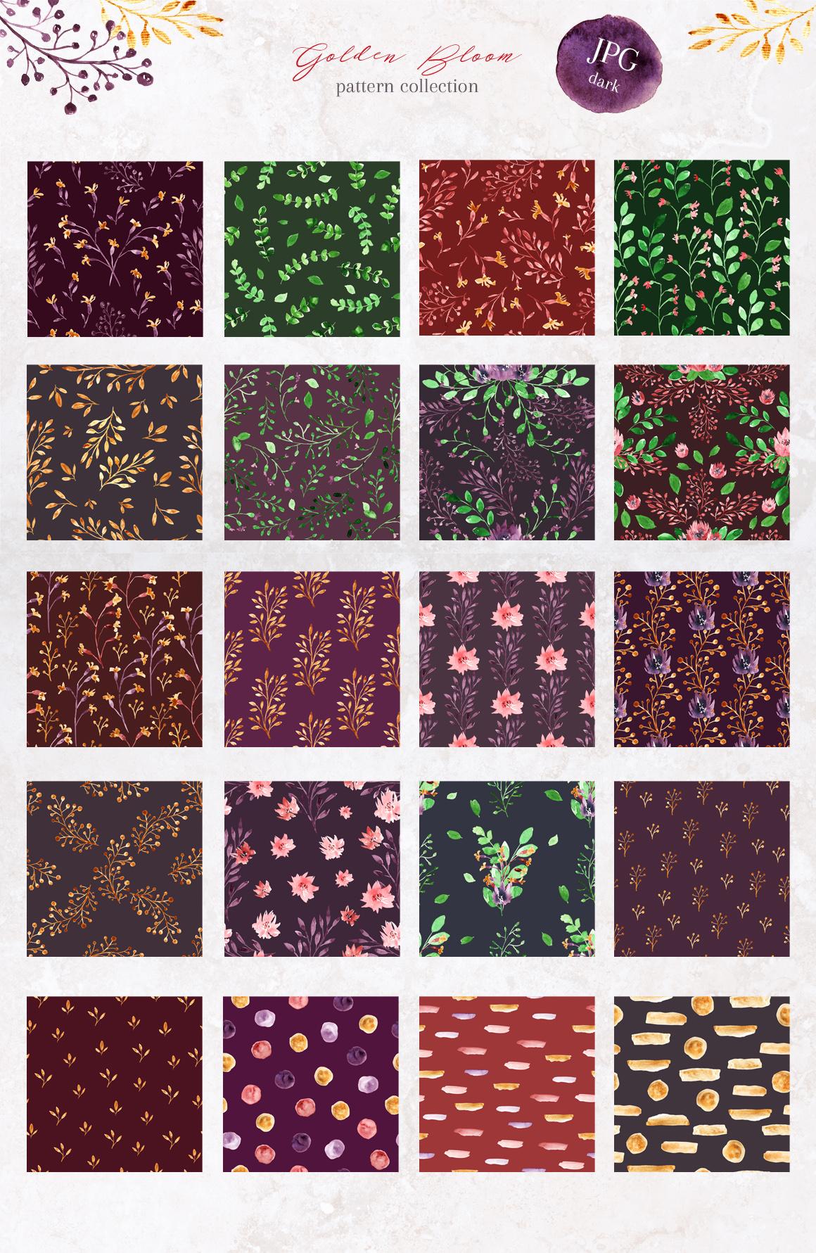 Golden Bloom - watercolor pattern set
