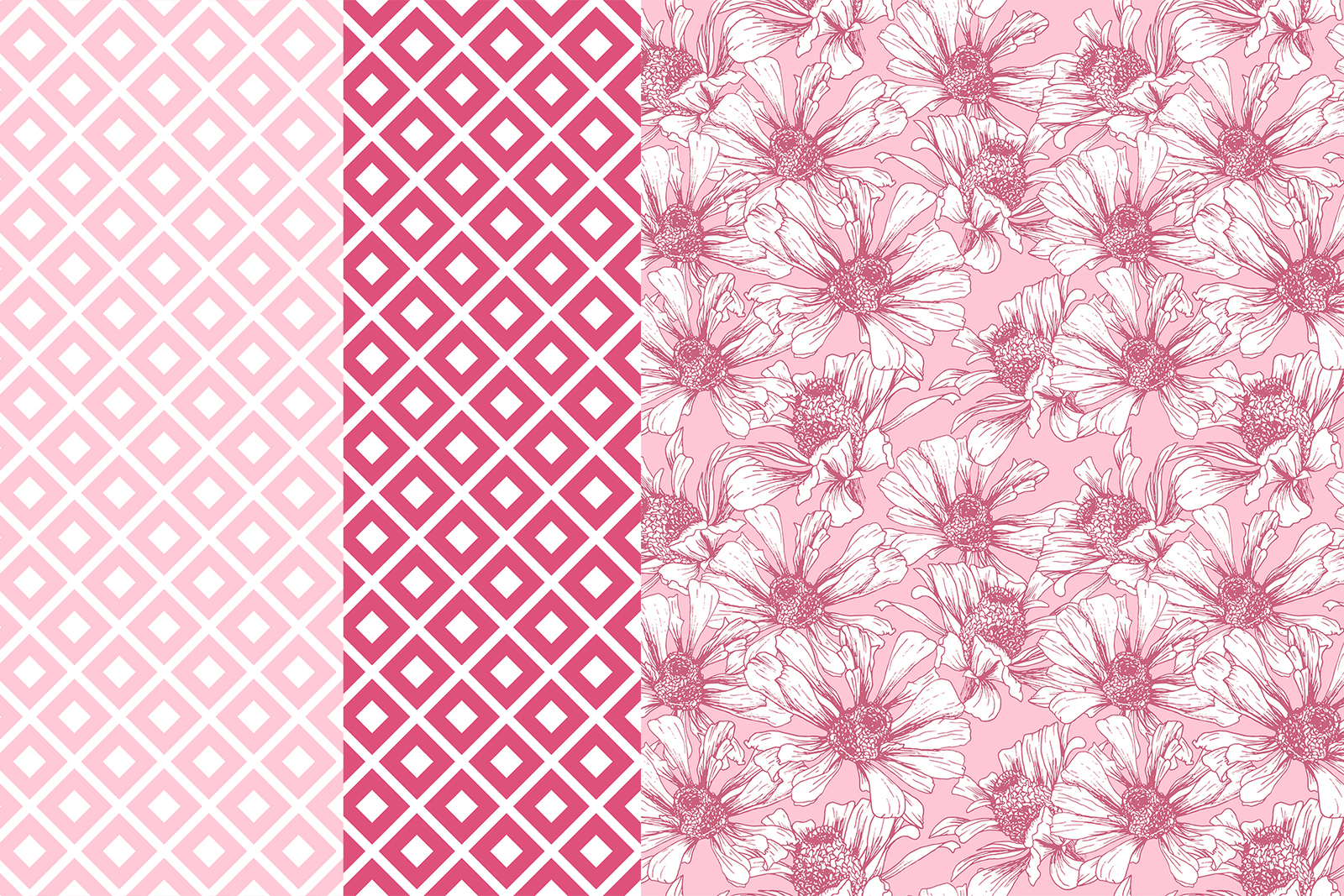 Romantic Flower Digital Papers, Seamless Patterns for Valentine's Day