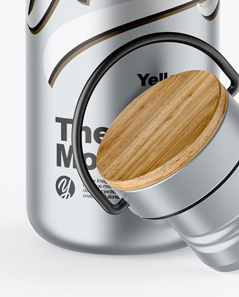 Opened Metallic Thermos Mockup