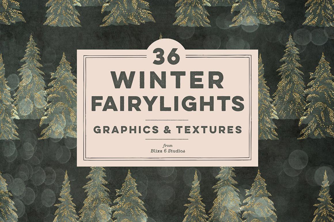 36 Winter Fairy Lights Gold Graphics