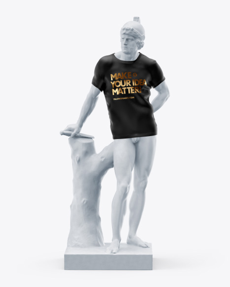 Man's Statue Wearing a T-Shirt Mockup