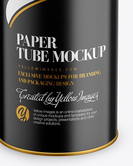 Glossy Paper Tube Mockup - Front View (High-Angle Shot)