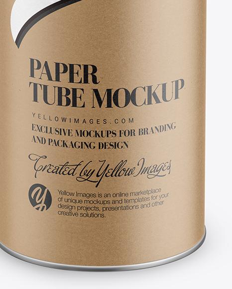 Kraft Paper Tube Mockup - Front View