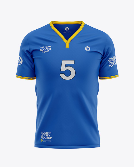 Men's Soccer Y-Neck Jersey Mockup - Front View - Football T-shirt Mockup