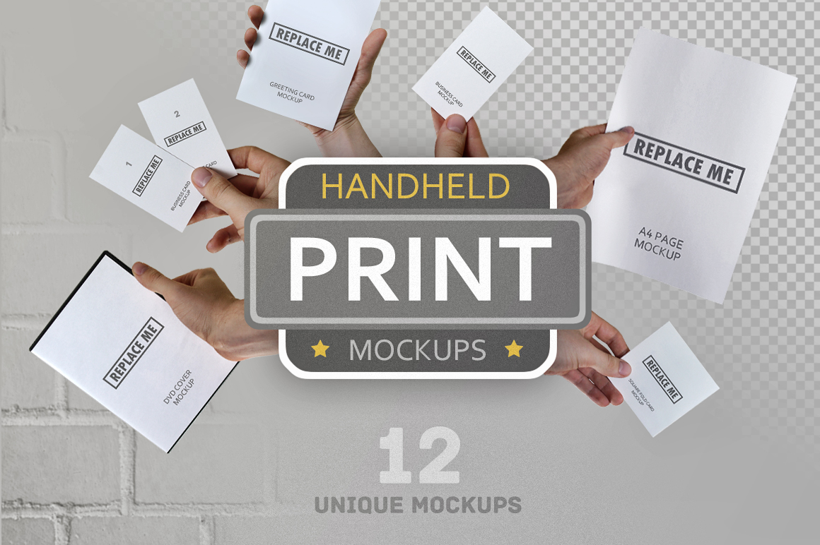 Handheld Print Mockups In Stationery Mockups On Yellow Images