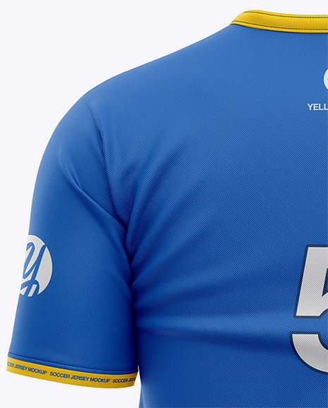 Men's Soccer Y-Neck Jersey T-shirt Mockup - Back View - Football T-shirt Mockup