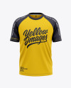 Men's Raglan Short Sleeve T-Shirt Mockup - Front View