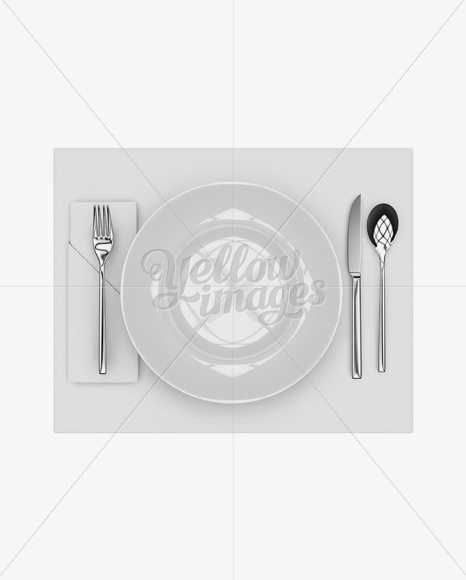 Plate & Cutlery Set Mockup - Top View