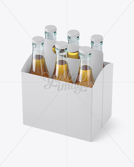 White Paper 6 Pack Beer Bottle Carrier Mockup Halfside View