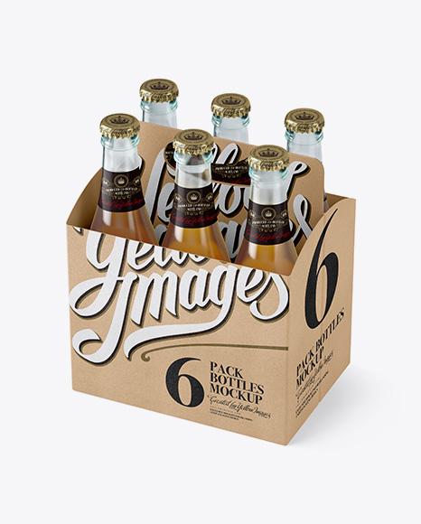 Download Kraft Paper 6 Pack Beer Bottle Carrier Mockup Halfside View High Angle Shot In Bottle Mockups On Yellow Images Object Mockups PSD Mockup Templates