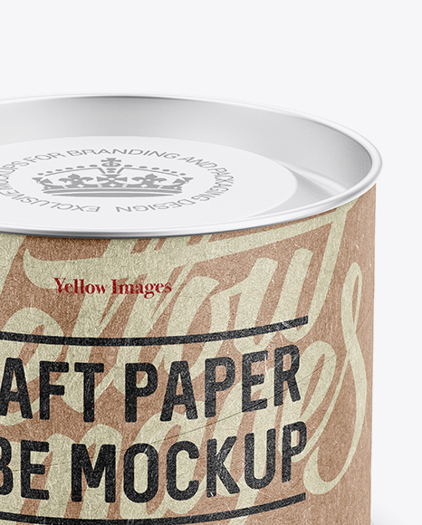 Small Kraft Paper Tube w/ a Convex Lid and a Paper Label - High-Angle View