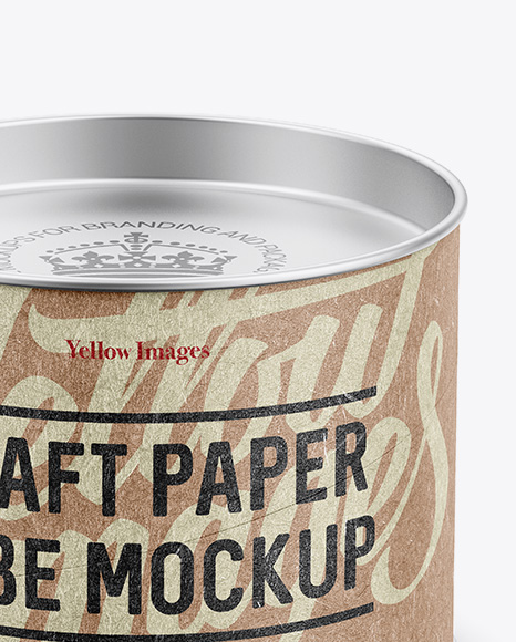 Small Kraft Paper Tube w/ a Flat Tin Lid and a Paper Label - High-Angle View