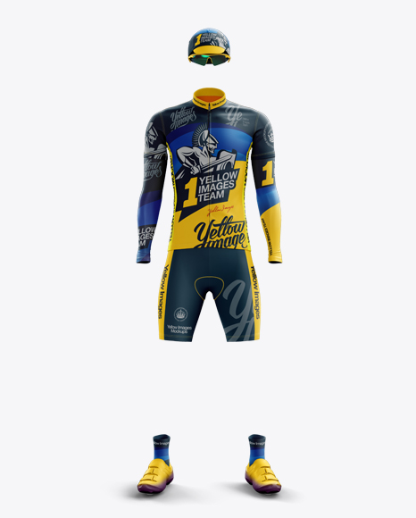 Men's Full Cycling Kit with Cooling Sleeves Mockup (Front View)
