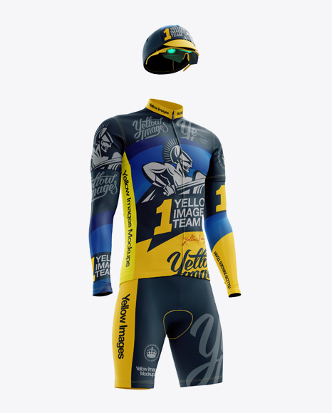 Men's Full Cycling Kit with Cooling Sleeves Mockup (Hero Shot)
