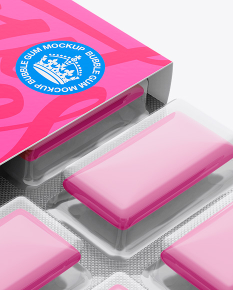 Chewing Gum in Blister Package Mockup - Top (Half-side View)