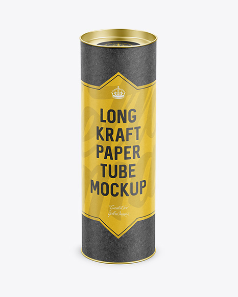 Long Kraft Paper Tube w/ a Flat Lid and a Paper Label - High-Angle View