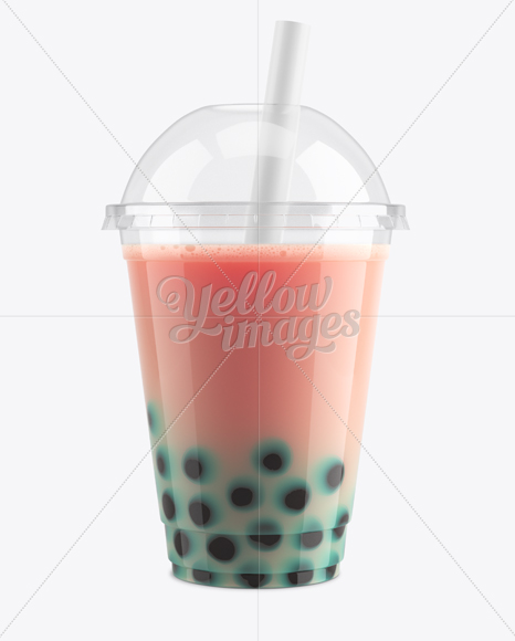 Berry Bubble Tea Cup Mockup - Front View