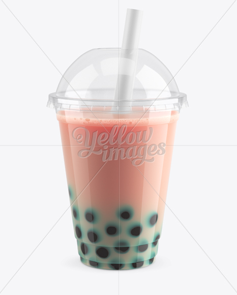 Berry Bubble Tea Cup Mockup - High-Angle View
