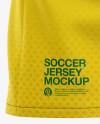 Men's Soccer Y-Neck Jersey T-shirt Mockup - Back Half-Side View - Football T-shirt