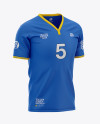 Men's Soccer Y-Neck Jersey Mockup - Front Half-Side View - Football T-shirt Mockup