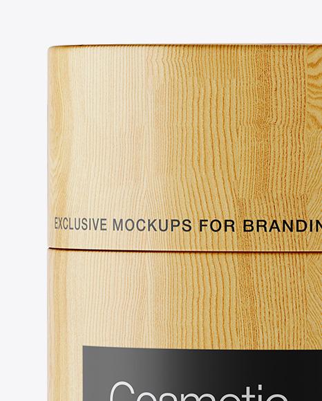 Wooden Cosmetic Jar Mockup