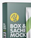 Matte Sachet with Box Mockup - Half Side View