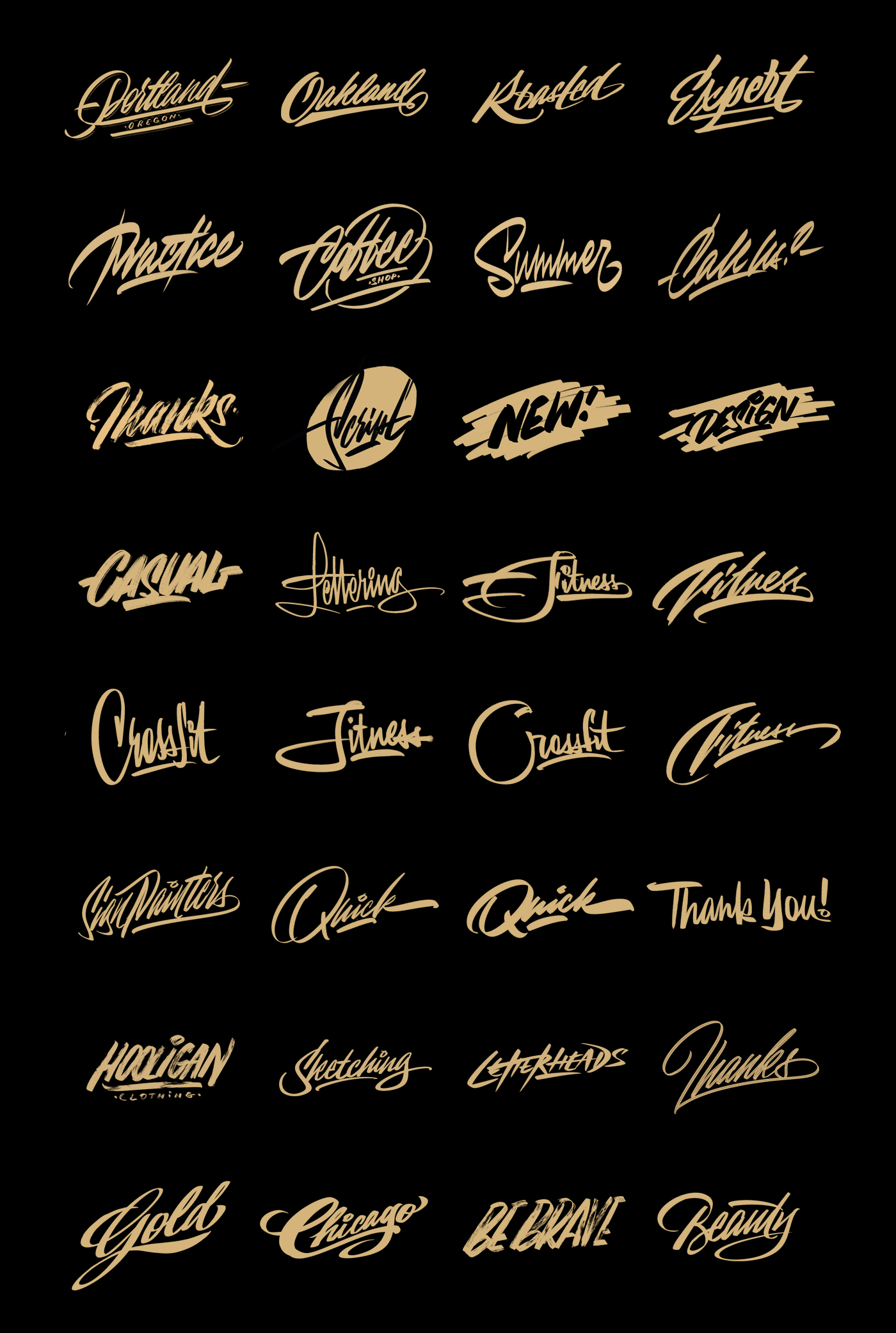 Procreate brushes for sign painting design.