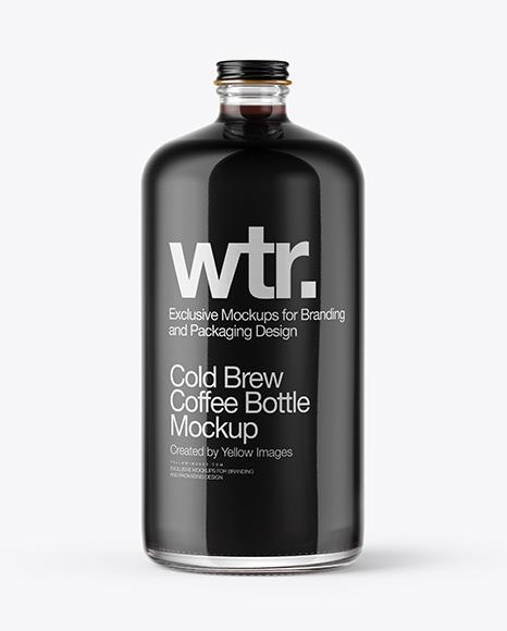 Cold Brew Coffee Bottle Mockup in Bottle Mockups on Yellow ...