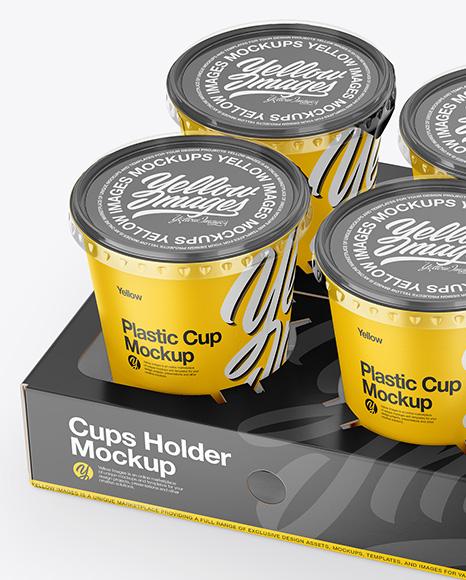 6 Plastic Cups w/ Transparent Lid Pack Mockup