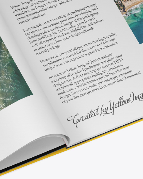 Download Opened Book Mockup In Stationery Mockups On Yellow Images Object Mockups PSD Mockup Templates
