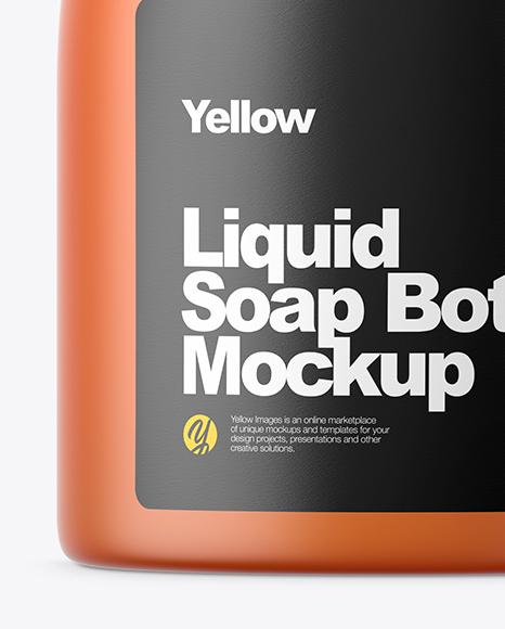 Orange Frosted Liquid Soap Bottle Mockup