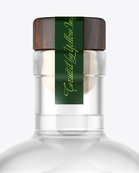 Dry Gin Bottle with Wooden Cap Mockup