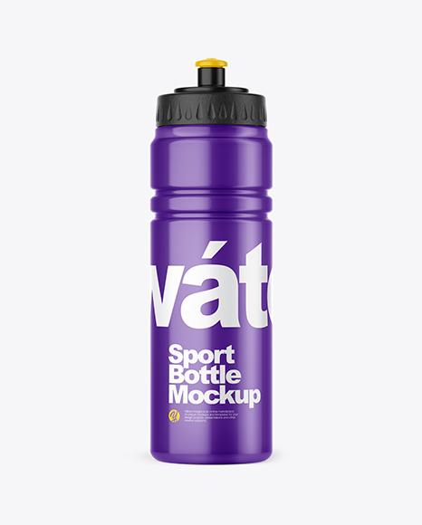 Glossy Plastic Sport Bottle Mockup