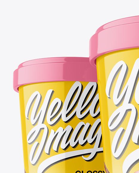 Three Glossy Ice Cream Cups Mockup