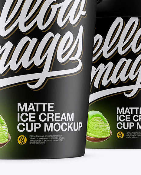 Three Matte Ice Cream Cups Mockup