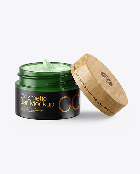 Opened Green Glass Cosmetic Jar Mockup
