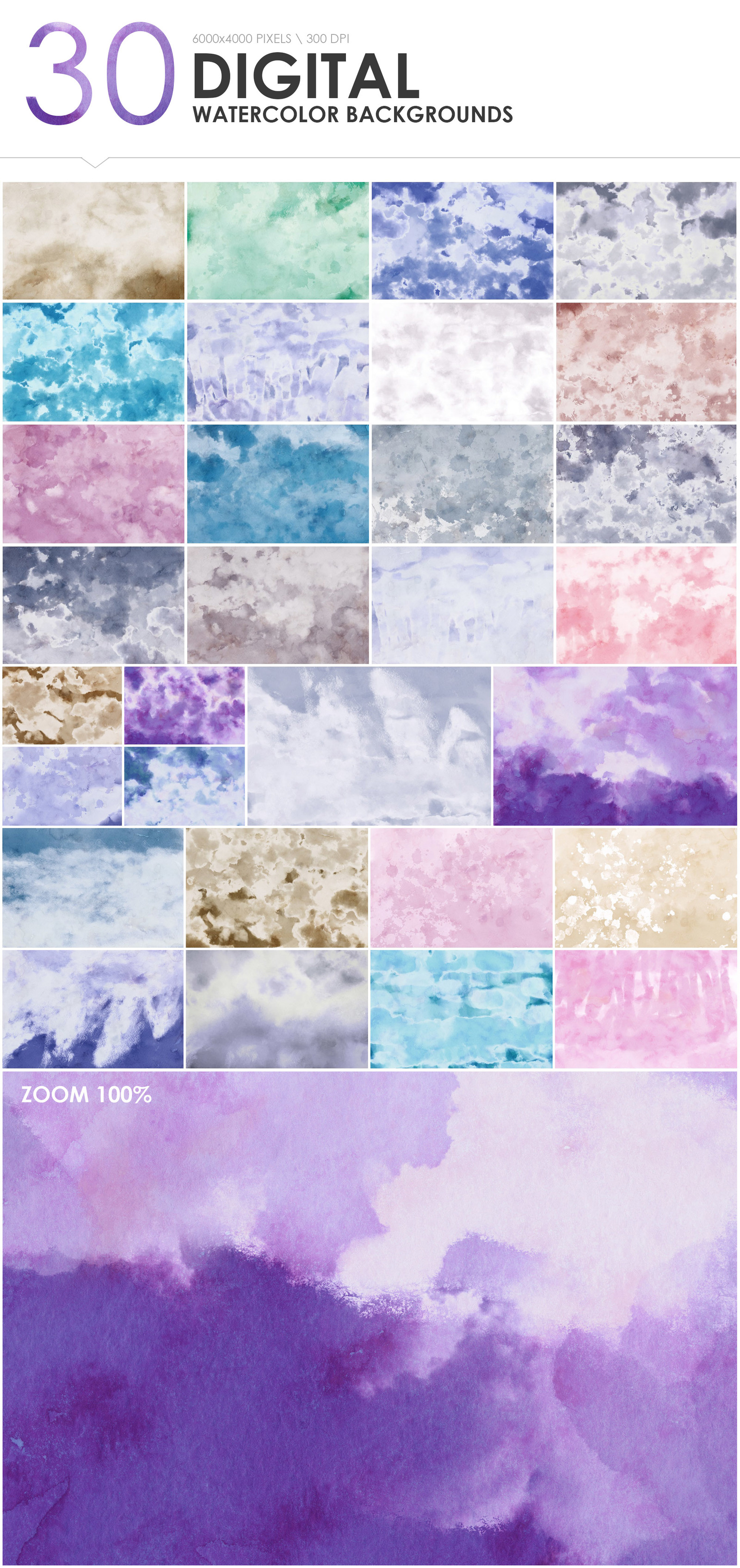300 Diverse Watercolor Backgrounds