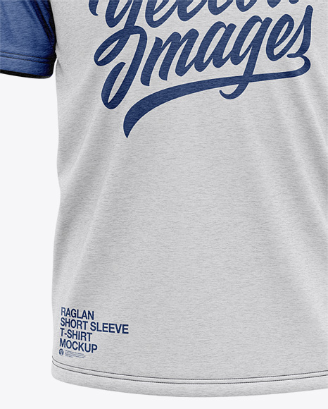 Men's Heather Raglan Short Sleeve T-Shirt Mockup - Front View