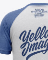 Men's Heather Raglan Short Sleeve T-Shirt Mockup - Back View