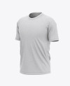 Men's Heather Raglan Short Sleeve T-Shirt Mockup - Front Half Side View