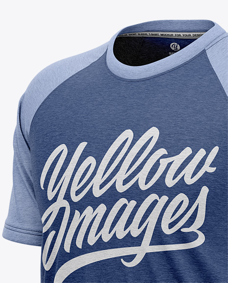 Download Mens Heather Short Sleeve T Shirt Mockup Front Half Side View Yellow Images