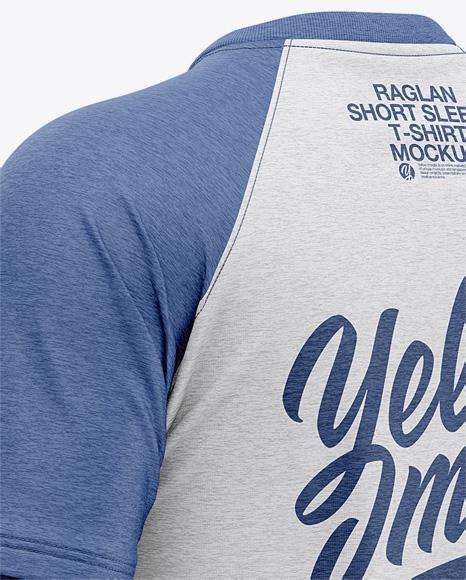 Men's Heather Raglan Short Sleeve T-Shirt Mockup - Back Half Side View